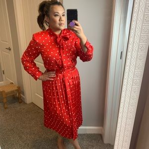 Vintage red polka dot pleated dress